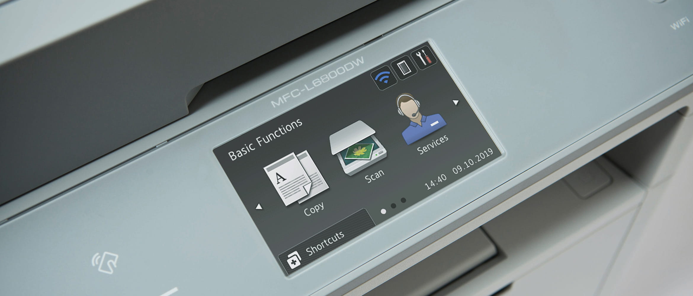 Three icons on the touchscreen of MFC-L6800