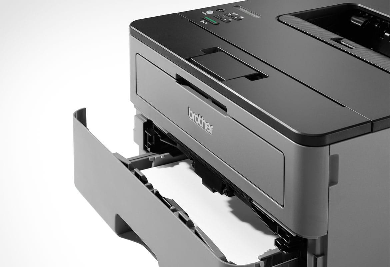 HL-L2350DW črno-beli laserski tiskalnik z odprtim pladnjem za papir-bližnji pogled