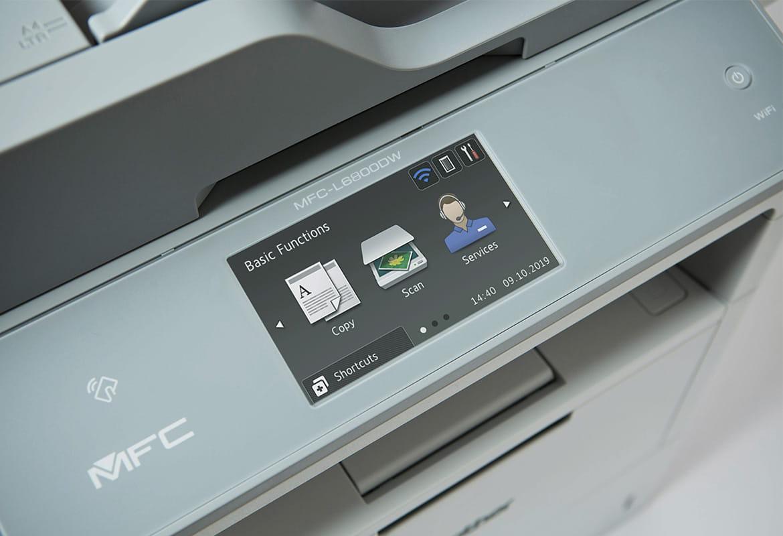 Zaslon na dotik s tremi ikonam na večfunkcijski napravi Brother