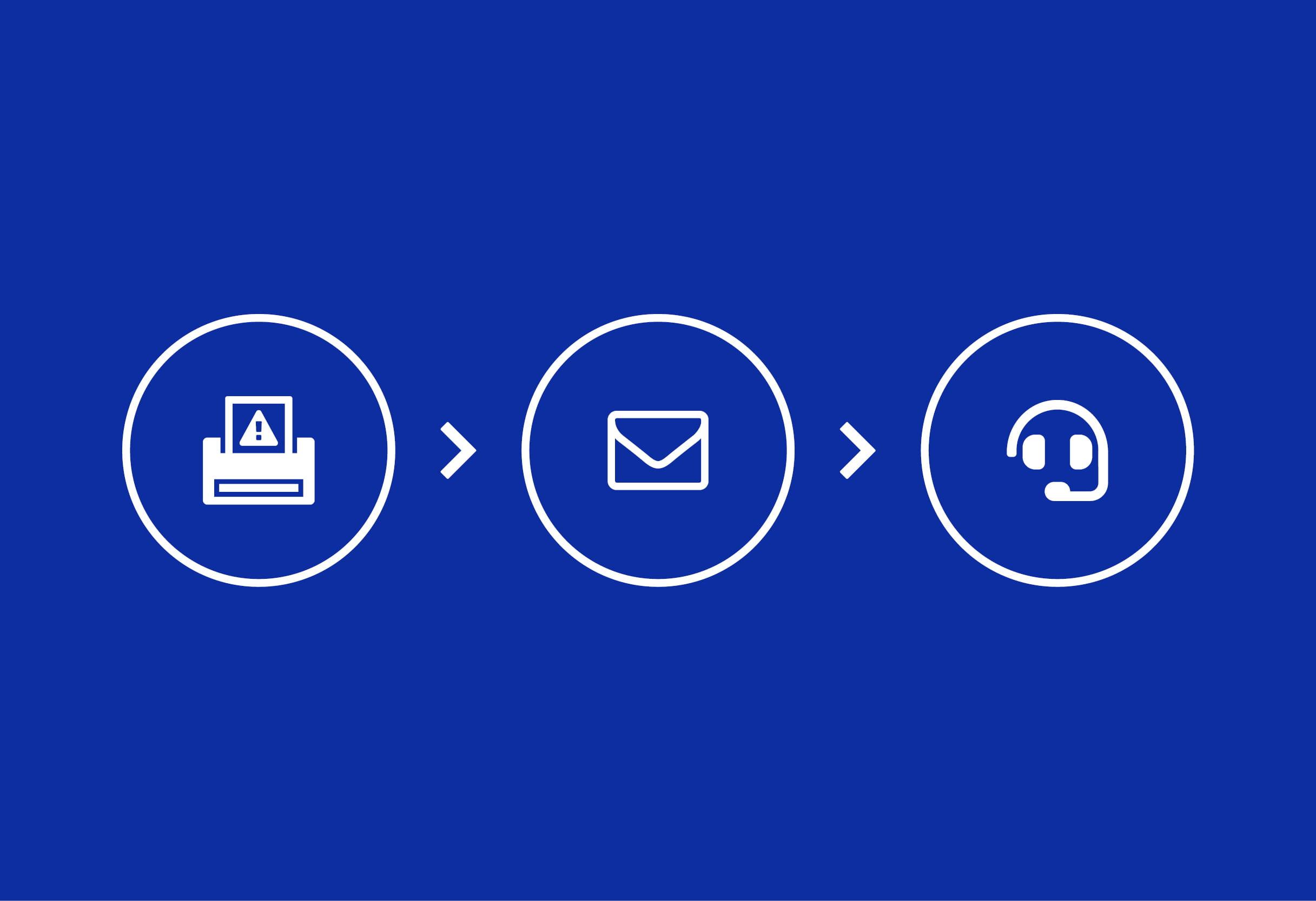 Ikona tiskalnika ikona e-pošte ikona ključa za matice