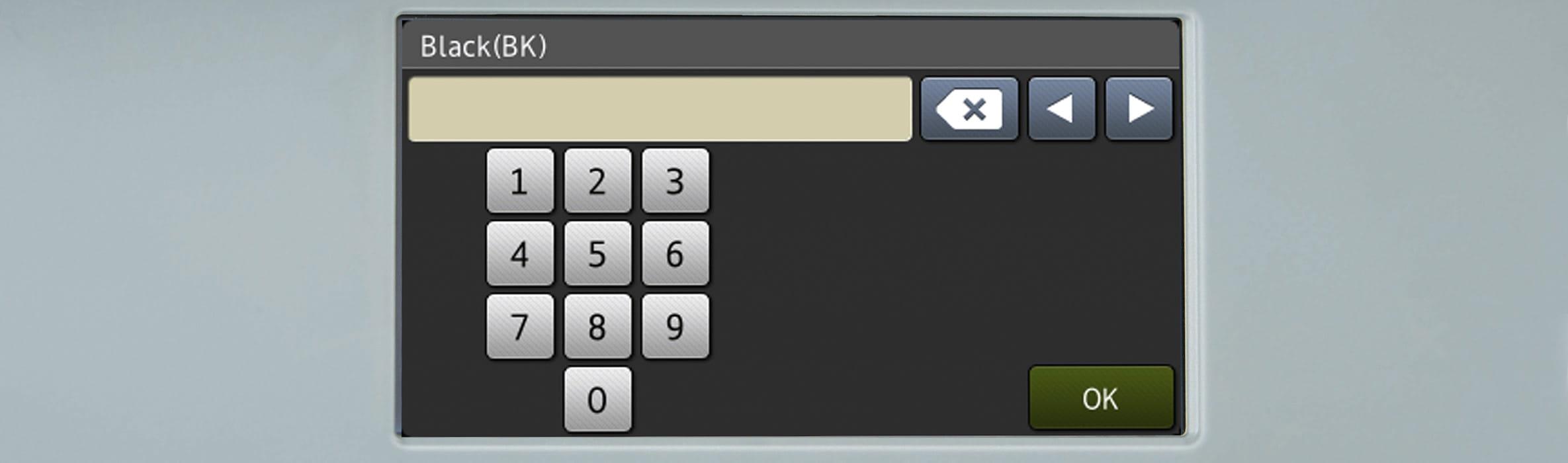 Številka na zaslonu na dotik na večfunkcijski napravi Brother