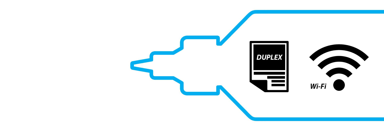 Okvir cian plastenke črnila Brother InkBenefit Plus s simbolom za obojestransko tiskanje in wi-fi