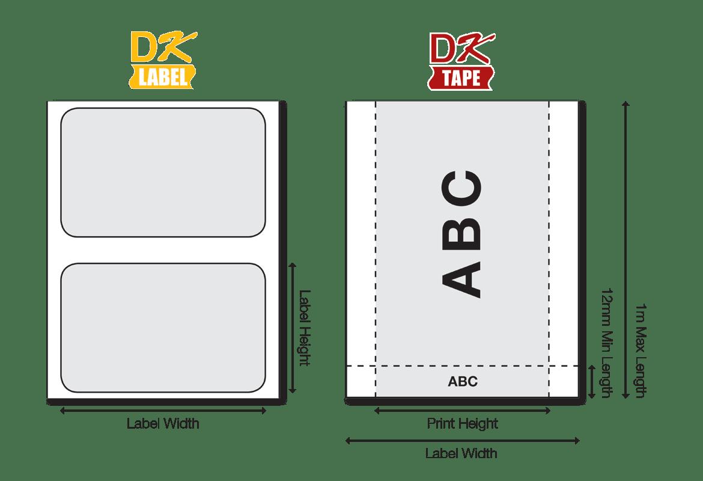 DK-nalepke so na voljo v različnih velikostih