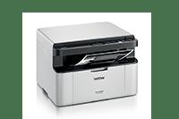 DCP-1623WE črno-bela laserska večfunkcijska naprava za tiskanje, kopiranje in skeniranje, obrnjena na desno z natisnjenim dokumentom