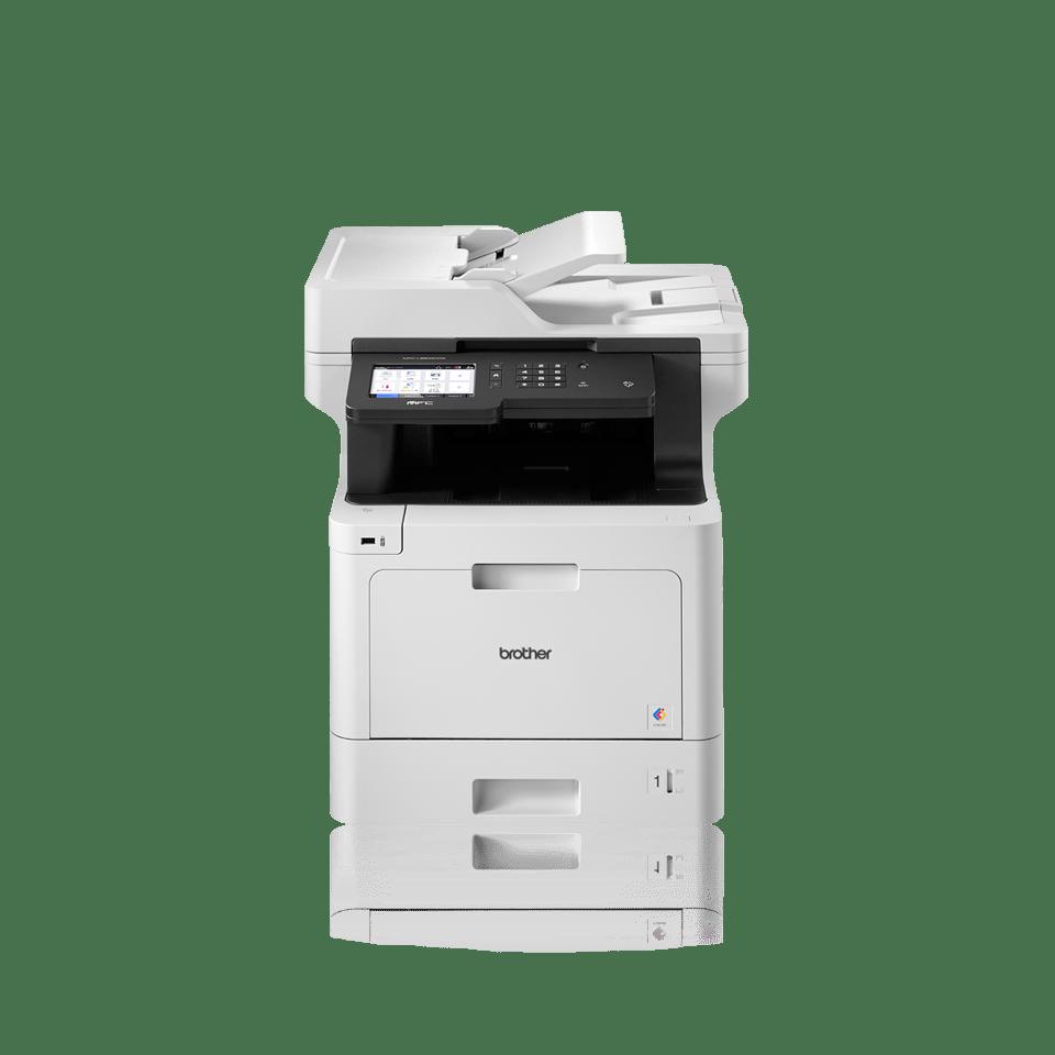 Poslovna barvna laserska večfunkcijska naprava Brother MFCL8900CDWLT-spredaj-dodatni pladenj za papir-z logotipi BLI, IF Design award 2018, Pantone