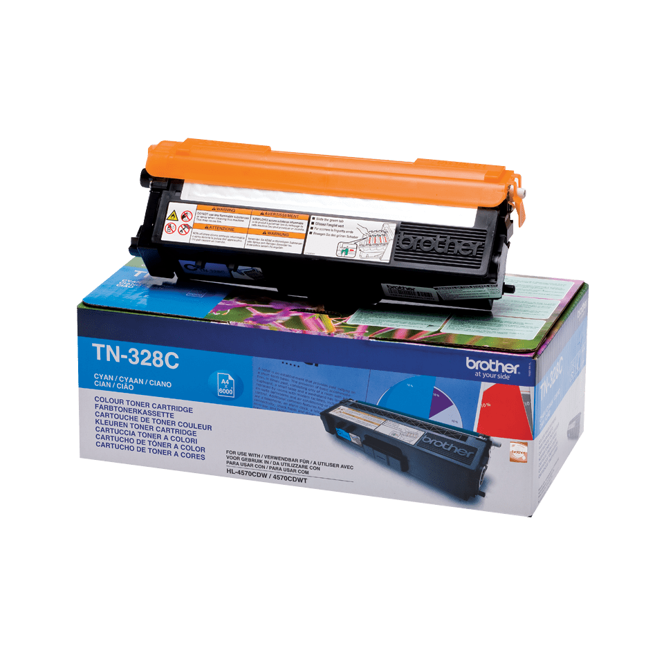 Originalen Brother TN-328C toner – cian